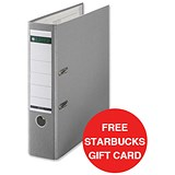 Image of Leitz A4 Lever Arch Files / Plastic / 80mm Spine / Grey / Pack of 10 / Offer Includes FREE £5 Starbucks Gift Card