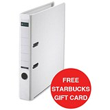 Image of Leitz A4 Mini Lever Arch Files / Plastic / 50mm Spine / White / Pack of 10 / Offer Includes FREE £5 Starbucks Gift Card