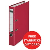 Image of Leitz A4 Mini Lever Arch Files / Plastic / 50mm Spine / Red / Pack of 10 / Offer Includes FREE £5 Starbucks Gift Card