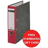 Image of Leitz Standard A4 Lever Arch Files / 80mm Spine / Red / Pack of 10 / Offer Includes FREE £5 Starbucks Gift Card