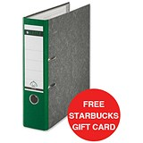 Image of Leitz Standard A4 Lever Arch Files / 80mm Spine / Green / Pack of 10 / Offer Includes FREE £5 Starbucks Gift Card