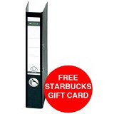 Image of Leitz Standard Foolscap Lever Arch Files / 80mm Spine / Black / Pack of 10 / Offer Includes FREE £5 Starbucks Gift Card
