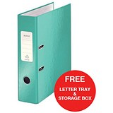 Image of Leitz WOW A4 Lever Arch Files / 80mm Spine / Ice Blue / Pack of 10 / Offer Includes FREE A4 Storage Box & Letter Tray