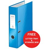 Image of Leitz WOW A4 Lever Arch Files / 80mm Spine / Blue / Pack of 10 / Offer Includes FREE A4 Storage Box & Letter Tray