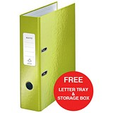 Image of Leitz WOW A4 Lever Arch Files / 80mm Spine / Green / Pack of 10 / Offer Includes FREE A4 Storage Box & Letter Tray