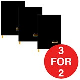 Image of Rhodia Hardback Notebook / Casebound / Lined / A4 / Pack of 3 / 3 for the Price of 2