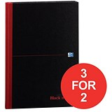 Image of Black n' Red Casebound Notebook / A4 / Ruled / 192 Pages / Pack of 5 / 3 for the price of 2