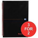 Image of Black n' Red Wirebound Notebook / A4 / Ruled & Perforated / 140 Pages / Pack of 5 / 3 for the price of 2