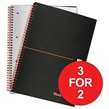 Image of Black n' Red Wirebound Notebook / A4 / Ruled & Perforated / 140 Pages / Matt Black / Pack of 5 / 3 for the price of 2