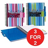 Image of Pukka Pad Wirebound Project Notebook / A5 / Ruled / 250 Pages / 5-Divider / Assorted / Pack of 3 / 3 for the Price of 2