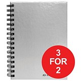 Image of Pukka Pad Hardback Wirebound Notebook / A5 / Perforated / Ruled / Margin / 160 Pages / Pack of 5 / 3 for the Price of 2