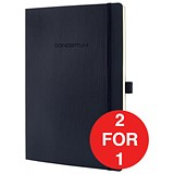 Image of Sigel Conceptum Soft Cover Leather Look Notebook / A5 / 194 Pages / Black / Buy One Get One FREE