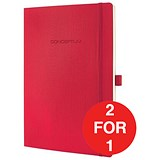 Image of Sigel Conceptum Soft Cover Leather Look Notebook / A5 / Ruled / 194 Pages / Red / Buy One Get One FREE