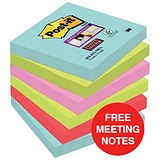 Image of Post-it Super Sticky Notes / 76x76mm / Pack of 6 x 90 notes / Offer Includes FREE Meeting Notes