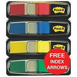 Image of Post-it Small Repositionable Index Flags & Indexes / Standard Colours / Pack of 206 / Offer Includes FREE Index Arrows