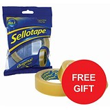 Image of Sellotape Original Golden Tape Rolls - Large / Non-static / Easy-tear / 24mmx66m / Pack of 12 / Offer Includes FREE Dispenser