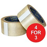 Image of Sellotape Case Sealing Tape / Vinyl / 50mmx66m / Clear / Pack of 6 / 4 for the Price of 3