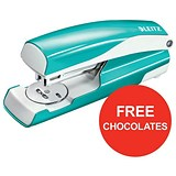 Image of Leitz NeXXt WOW Stapler / 3mm / 30 Sheet Capacity / Ice Blue / Offer Includes FREE Rolos