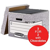 Image of Fellowes Bankers Box System Storage Boxes / Foolscap / W333xD390xH285mm / Pack of 10 / 3 for the Price of 2 with FREE Cadbury Hero Bag