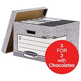 Image of Fellowes Bankers Box System Large Storage Boxes / W380xD430xH287mm / Pack of 10 / 3 for the Price of 2 with FREE Cadbury Hero Bag