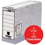 Image of Fellowes Bankers Box Transfer Files / 120mm / Pack of 10 / 3 for the price of 2 with FREE Cadbury Hero Bag