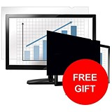 Image of Fellowes Blackout Privacy Filter / 24 inch Widescreen / 16:10 / Offer Includes FREE 32GB USB Flash Drive