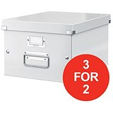Image of Leitz WOW Click & Store Medium Storage Box / A4 / White / 3 for the Price of 2