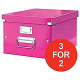Image of Leitz WOW Click & Store Medium Storage Box / A4 / Pink / 3 for the Price of 2