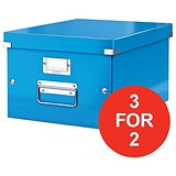 Image of Leitz WOW Click & Store Medium Storage Box / A4 / Blue / 3 for the Price of 2