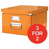 Image of Leitz WOW Click & Store Medium Storage Box / A4 / Orange / 3 for the Price of 2