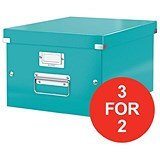 Image of Leitz WOW Click & Store Box / Medium / A4 / Ice Blue / 3 for the Price of 2