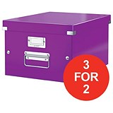 Image of Leitz WOW Click & Store Box / Medium / A4 / Purple / 3 for the Price of 2