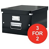 Image of Leitz WOW Click & Store Medium Collapsible Archive Box / A4 / Black / 3 for the Price of 2