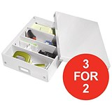 Image of Leitz WOW Click & Store Organiser Box / Medium / White / 3 for the Price of 2