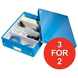 Image of Leitz WOW Click & Store Organiser Box / Medium / Blue / 3 for the Price of 2