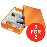 Image of Leitz WOW Click & Store Organiser Box / Medium / Orange / 3 for the Price of 2