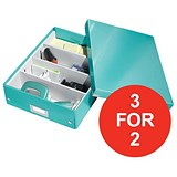 Image of Leitz WOW Click & Store Organiser Box / Medium / Ice Blue / 3 for the Price of 2