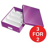 Image of Leitz WOW Click & Store Organiser Box / Medium / Purple / 3 for the Price of 2