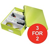 Image of Leitz WOW Click & Store Organiser Box / Medium / Green / 3 for the Price of 2