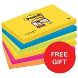 Image of Post-it Super Sticky Removable Notes / 76x127mm / Rio /12 Pads of 90 Notes / Redeem your FREE Tote Gift Bag