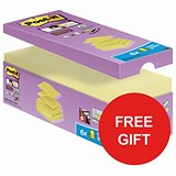 Image of Post-It Super Sticky Z-Notes / Super Strong / 76x76mm / Canary Yellow / 40 Pads of 100 Notes / Redeem your FREE Tote Gift Bag