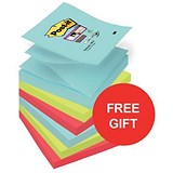 Image of Post-it Super Sticky Z-Notes / 76x76mm / Miami / 12 Pads of 90 Notes / Redeem your FREE Tote Gift Bag