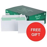 Image of Basildon Bond Recycled Plain DL Envelopes / White / Peel & Seal / 120gsm / Pack of 500 / Offer Includes FREE Tetley Fruit and Herbal Tea