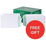 Image of Basildon Bond Recycled C5 Pocket Envelopes / White / Peel & Seal / 120gsm / Pack of 500 / Offer Includes FREE Tetley Fruit and Herbal Tea