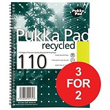 Image of Pukka Pad Recycled Wirebound Notebook / A4 / 4 Holes / Perforated / Ruled / 110 Pages / Pack of 3 / 3 for the Price of 2