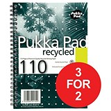 Image of Pukka Pad Recycled Wirebound Notebook / A5 / Perforated / Ruled / 110 Pages / Pack of 3 / 3 for the Price of 2