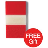 Image of 5 Star Standard Index Flags / 50 Sheets per Pad / 25x45mm / Red / 4 Packs of 5 / Offer Includes FREE Index Flags