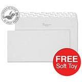 Image of Blake Premium DL Wallet Envelopes / Wove / High White / Peel & Seal / 120gsm / 2 Packs of 500 / Offer Includes FREE Zebra Soft Toy