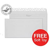 Image of Blake Premium DL Wallet Envelopes / Wove / Brilliant White / Peel & Seal / 120gsm / 2 Packs of 500 / Offer Includes FREE Zebra Soft Toy
