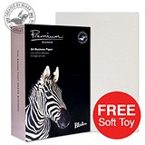 Image of Blake Premium A4 Paper / Laid Finish / High White / 120gsm / 2 Reams (2 x 500 Sheets) / Offer Includes FREE Zebra Soft Toy